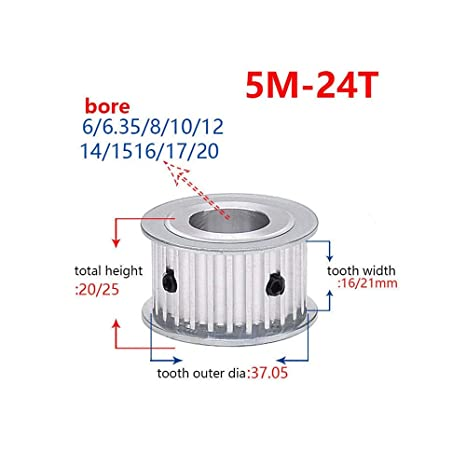 5M 40T Timing Belt Pulley Gear Synchronous Wheel Sprocket 16mm Bore For 15mm Width Belt Tooth width:16mm, Bore:16mm