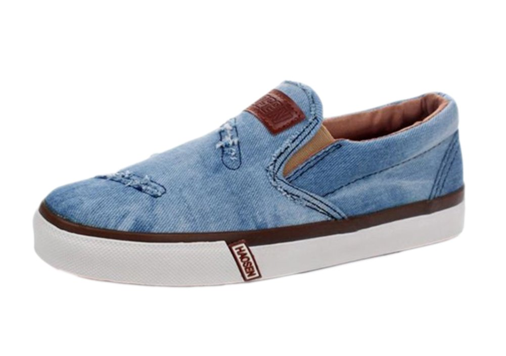 BD Men's Slip-On Sky Blue Canvas Fashion Shoes Casual Sneakers Slippers 7 US