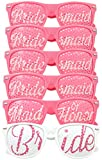 Bridal Bachelorette Party Favors - Wedding Kit - Bride & Bridesmaid Party Sunglasses - Set of 6 Pairs - Go Selfie Crazy - Themed Novelty Glasses for Memorable Moments & Fun Photos (6pcs, Pink)