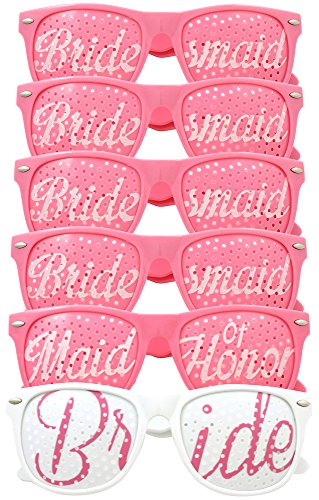 [Bridal Bachelorette Party Favors - Wedding Kit - Bride & Bridesmaid Party Sunglasses - Set of 6 Pairs - Go Selfie Crazy - Themed Novelty Glasses for Memorable Moments & Fun Photos (6pc Set,] (Mens Costume Ideas Homemade)
