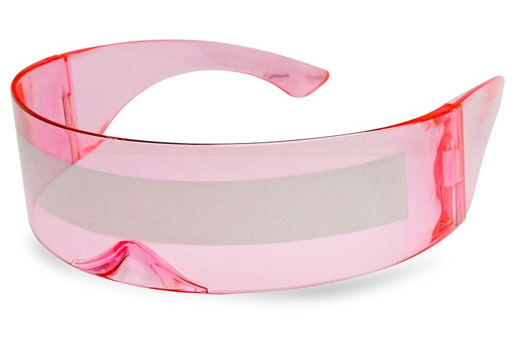 SunglassUP One Piece Futuristic Wrap Around Novelty Cyclops Robocop Sunglasses (Light Pink Frame | Silver Mirror)