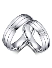 Anazoz Couple Ring Set Stainless Steel 6MM Silver Wedding Band Engagement Rings