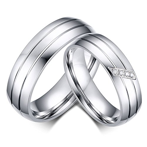 AnaZoz Couple Ring Set Stainless Steel 6MM Silver