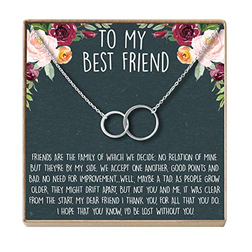 Dear Ava Necklace: BFF, Long Distance, Friends Forever, 2 Asymmetrical Circles (Rose-Gold-Plated-Brass, NA) ()