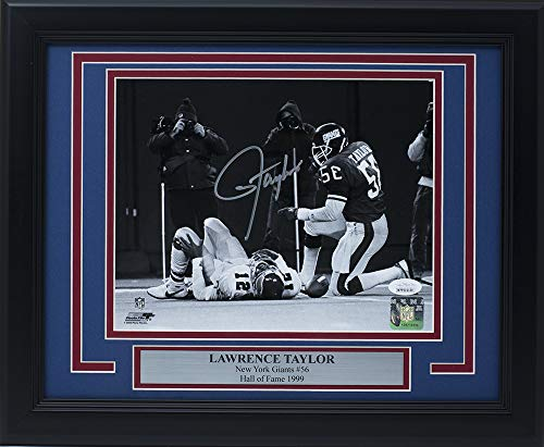 Lawrence Taylor Signed Framed New York Giants 8x10 Cunningham Sack Photo JSA + SI