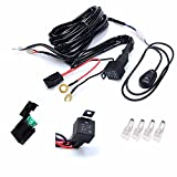KAWELL Universal 2 lead Off Road ATV Jeep LED Light Bar Wiring Harness Kit - 40 Amp Relay ON/OFF Switch ( 12V 40A waterproof )