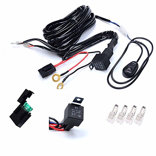 power bulbs light wiring harness relay switch for off road fog kawell universal 2 lead off road atv jeep led light bar wiring harness kit 40 amp relay on off switch