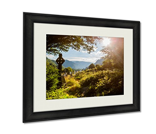 Ashley Framed Prints Old Celtic Cross In Glendalough Wicklow Mountain Ireland Wall Art Decor Giclee Photo Print In Black Wood Frame, Soft White Matte, Ready to hang 16x20 art by Ashley Framed Prints