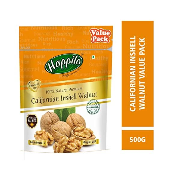 Happilo Premium 100% Natural Californian InShell Walnut Kernels, 500g