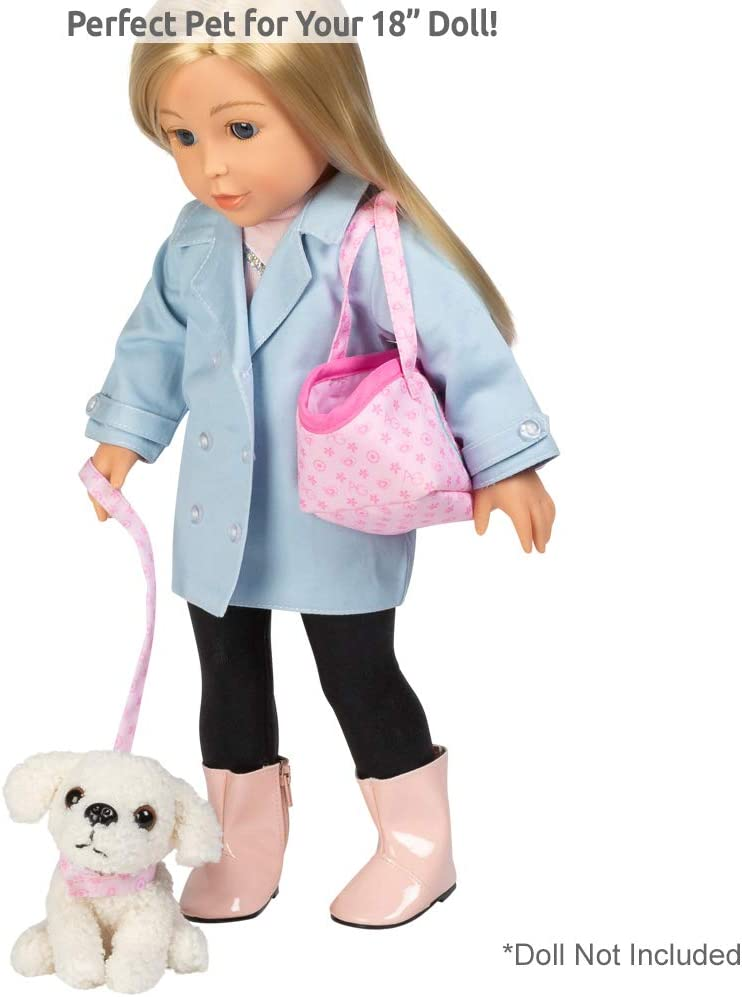 Collar Wooden Bowl and Bone Dog Carrier Leash 218880 18 Doll Accessory includes 4.5 Dog Ball Exclusive Adora Amazing Pets Pixie the White Poodle