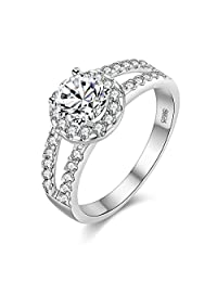 Uloveido Platinum Plated Round Cut Cubic Zirconia Solitaire Accent Split Shank Wedding Engagement Rings for Women Girls (Size 5 6 7 8 9 10) J510