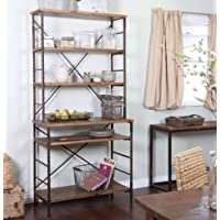 K&A Company Durable Fir Wood and Metal with Storage Wood Bakers Rack Shelves Display Steel with Storage and Display Space