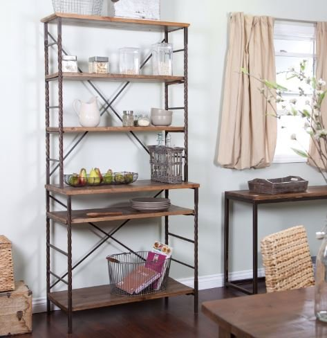 K&A Company Durable Fir Wood and Metal with Storage Wood Bakers Rack Shelves Display Steel with Storage and Display Space by K&A Company