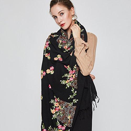 DANA XU Embroidery 100% Pure Wool Pashmina Shawls and Wraps (Black) by DANA XU (Image #2)