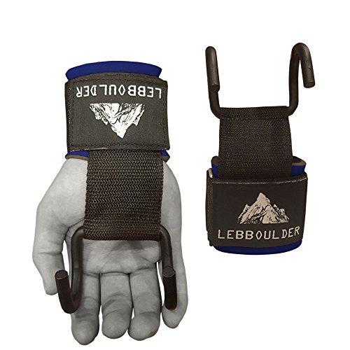 Lifting Hook (Weight Lifting Rod Hooks Heavy Duty Neoprene Padded Wrist Wraps Power Weight Lifting Training Gym Grips Straps Bandage Set of 2 (Blue))