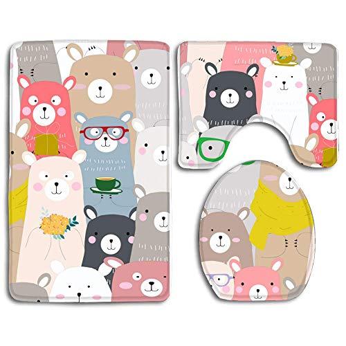 Bath Rug Mats Set 3 Piece Non-Slip Absorbing Water Bathroom Floor Mat Contour Rugs Lid Cover - Cute Baby Colorful Teddy -