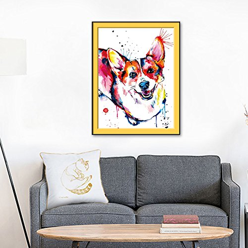 dezirZJjx Modern Canvas Painting£¬Modern Artwork Wall Art Paintings, Wall Art Cute Watercolor Corgi Dog Decorative Painting Frameless Home Decor - 45cm x 60cm