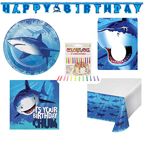 Shark Ocean Themed Birthday Party Supplies 16 Plates, 16 Napkins, Table Cover, Banner, Photo Prop, 12 Candles
