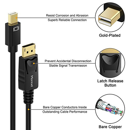 Moread Mini DisplayPort to DisplayPort Cable, 10 Feet, Gold-Plated Thunderbolt to DisplayPort (Mini DP to DP) Display Cable 4K Resolution Ready - Black