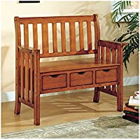 Bench - 41l Solid Wood With 3 Drawers Oak
