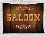 Ambesonne Saloon Decor Collection, Wooden Sign Saloon And Curly Ornaments On A Wood Wall Classic American Bar , Bedroom Living Room Dorm Wall Hanging Tapestry, 60W X 40L Inch