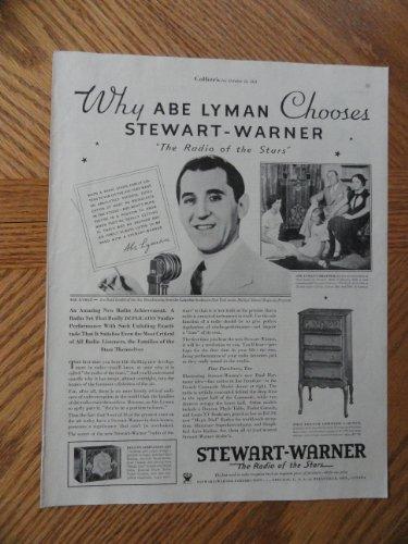 Stewart-Warner Radios, Authentic 1933 Illustration (Abe Lyman) original Vintage 1933 Collier's Magazine Print Ad.
