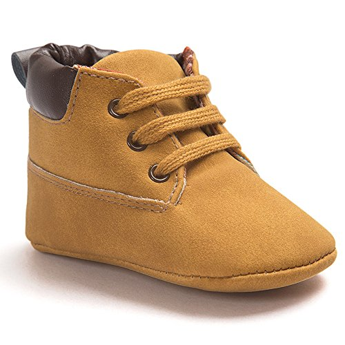 Voberry® Toddler Baby Boy's Leather Sneaker Shoes Lace up Snow Boots Warm (0~6Month, Khaki)