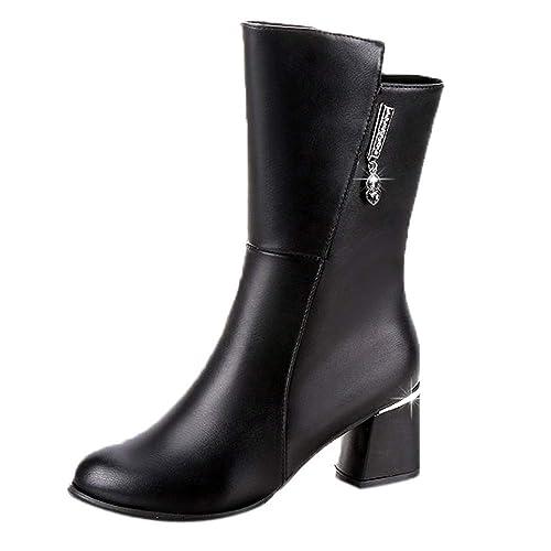 Logobeing Botas Mujer Invierno Botines Mujer Zapatos de Mujer Botas Medias para Mujer Zapatos de Tacón Cuadrado Botas Altas para Tobillo Antideslizantes ...