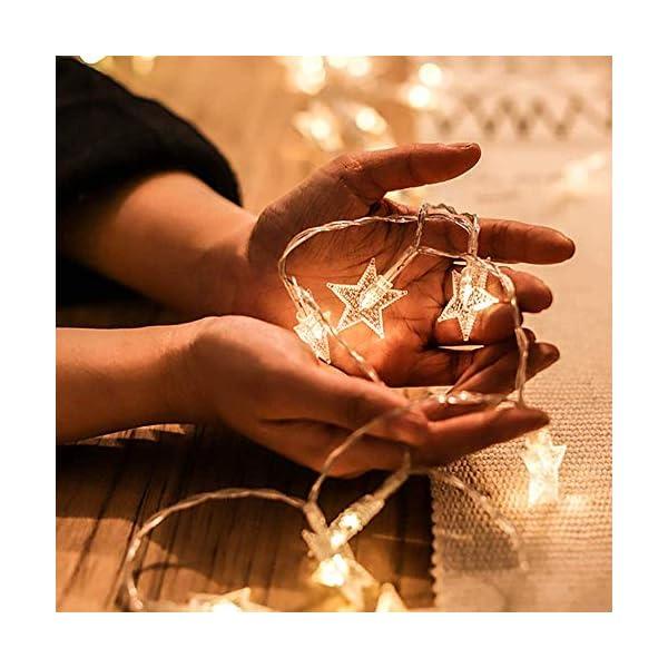Luci Natalizie, DIKI Catene Luminose LED Star Luci di Natale Camera da letto 2 modalità 5M 40 LED Decorazioni natalizie Holiday Fairy Home, Indoor e Outdoor 3 spesavip