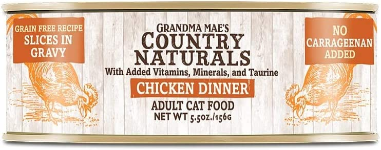Grandma Mae's Country Naturals Grain Free Canned Cat Food 5.5 oz. Chicken (Case of 24)