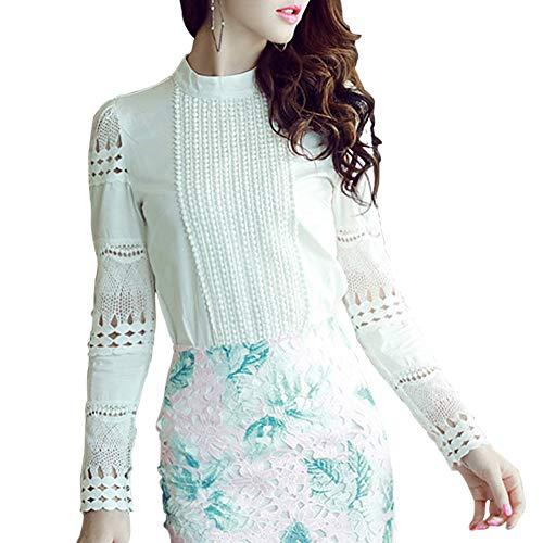- Women's Hollow Out Design with Lace Crochet Elegant Long Sleeve Trim Blouse (L, White)