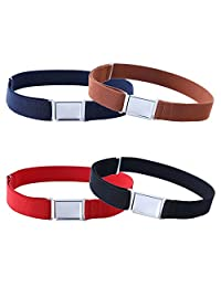4PCS Kids Boys Adjustable Magnetic Belt - Elastic Belt with Easy Magnetic Buckle (Navy Blue/Brown/ Red/Black)