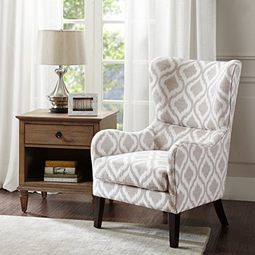Madison Park Arianna Swoop Wing Chair with Lumbar Support, Grey/White