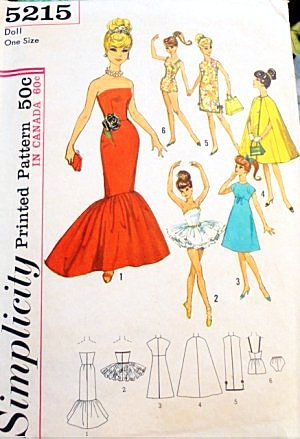 Simplicity 5215, Sewing Pattern 1960s , Atlantic City Weekend Wardrobe for Teen Model Dolls, Babette, Mitzi, Gina, Babs, Kay , Polly Jr., Tina, Tina Marie, and Barbie , Size 11 1/2
