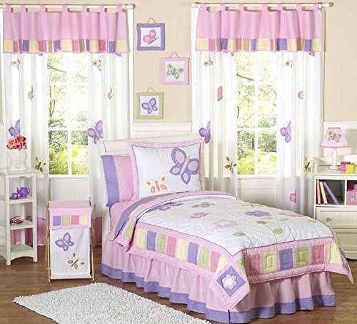 Kid Bedding Collection - Pink and Purple Butterfly Collection Childrens Bedding 4pc Twin Set by Sweet JoJo Designs
