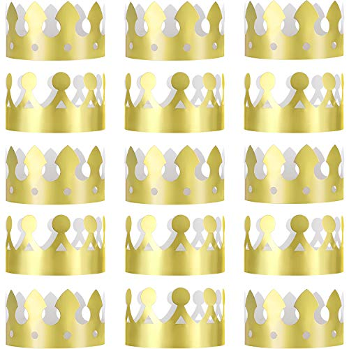(Jovitec 24 Pieces Golden King Crowns Gold Foil Paper Party Crown Hat Cap for Birthday Celebration Baby Shower Photo Props)