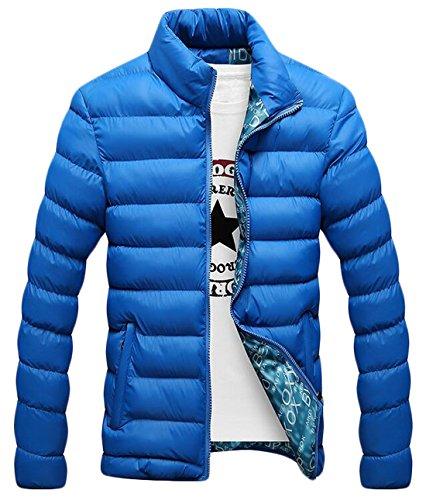 4XL Jackets Down EKU Quilted Collar Casual US Coat Warm Men's Stand Azure q0ZPwR6