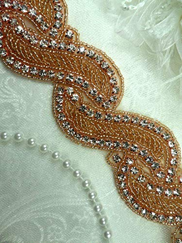 Wave Trim Glass Rhinestone Rose Gold Beaded Bridal 1.75'' Banding Iron On (DH57) by GL Appliques