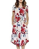 JOYCHEER Womens Floral Dresses Summer Short Sleeve Empire Waist Midi Dress with Pockets
