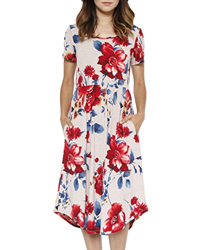 Foshow Womens Short Sleeve Dresses Floral Empire Waist Midi Vintage Summer Dress with Pockets ()