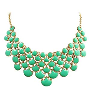 Jane Stone Best Selling Newest Fashion Necklace Magnetic Scaly Mint Jewelery Vintage Openwork Bib Statement Fall Wedding Necklace(Fn0968-Mint)