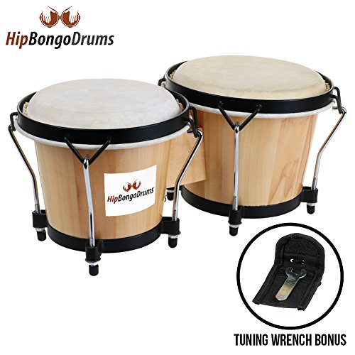 "6.5"" and 7.5"" Tunable Bongo Drums Set Percussion Rhythm Instrument Natural Animal Hides Hickory Shells Nickel Wood Metal for Kids Adults Beginners Professionals Music Lovers Tuning Wrench Included - Tenor 1 Light Pendant"