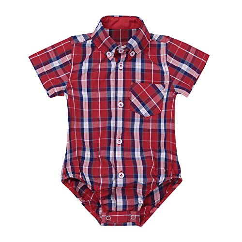 ys Short/Long Sleeves Summer Spring Autumn Plaid Shirt Romper Jumpsuit Red Short Sleeves 24 Months ()