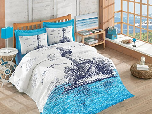 - DecoMood 100% Cotton Multifunctional 4 Season Nautical Bedding, Lighthouse Themed Single/Twin Size Quilt Set/Duvet Cover Set, (Quilted Bedspread Flat Sheet Pillowcase)