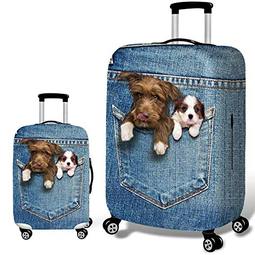6 S New Denim 3D Cute Cat Dog Elastic Luggage Cover Trolley Case Cover Durable Suitcase Protector for 18-32 Inch Case Warm Travel Accessories