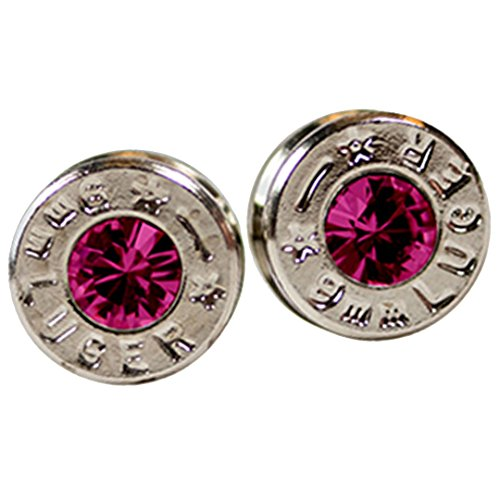 Silver and Rose Pink Swarovski Gem Real Bullet - Pink Bullet Shell Earrings