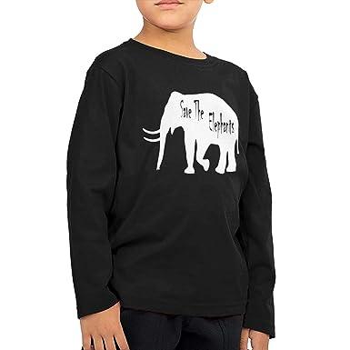 80dc68ea5 Amazon.com  Fryhyu8 Baby Girls Kids Save The Elephants-1 Printed Long Sleeve  100% Cotton Infants T-Shirts  Clothing