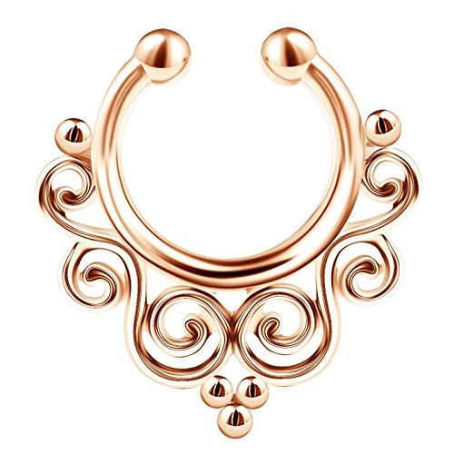 BanaVega 316L Stainless Steel Rose Illusion Fake Septum Ring Tribal 16 Gauge 5/16 8mm Nose Earrings Non Pierced Jewelry 2453 (Septum Ring Fake Tribal)