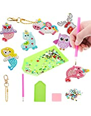 Litthing 7PCS Gem Keychains Painting Kits - Make Your Own Keychains -5D Diamond Painting by Numbers Art Kits for Kids Pink