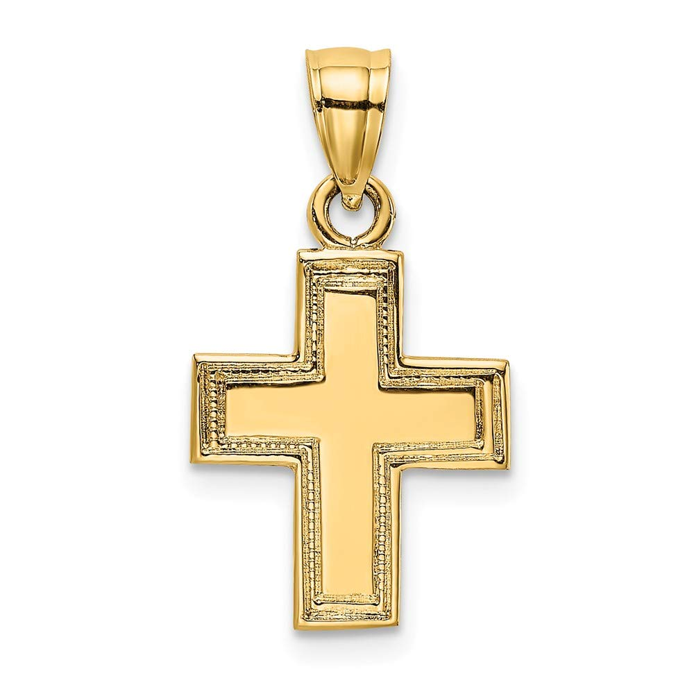 14K Yellow Gold Polished /& Textured Religious Themed Cross Small Charm Pendant